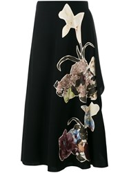 Valentino Kimono Flower Applique Wool Skirt Black Multi Coloured