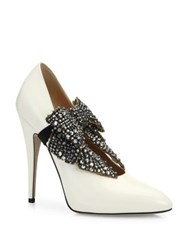 Gucci Elaisa Removable Crystal Bow And Leather Point Toe Pumps Light Blue White