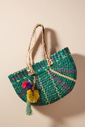 Anthropologie Braided Straw Tote Bag Green