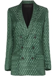 Haider Ackermann Double Breasted Checked Silk Blend Blazer Green