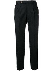 Entre Amis Creased Tapered Trousers Black