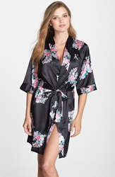 Cathys Concepts Personalized Floral Satin Robe Black K