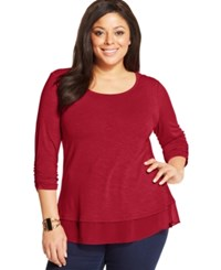 Styleandco. Style And Co. Plus Size Three Quarter Sleeve Chiffon Hem Top New Red Amore