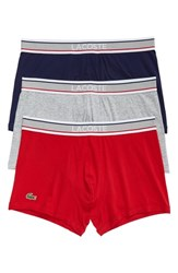 Lacoste 3 Pack Trunks Blue Grey Cherry