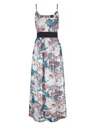 Yumi Cherry Blossom Print Maxi Dress With Belt Include Multi Coloured