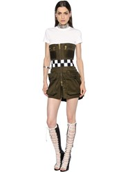 Dsquared Zip Up Light Cotton Twill Dress