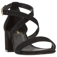Dune Wide Fit Montie Cross Strap Block Heeled Sandals Black