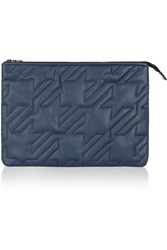 Maje Quilted Leather Clutch Blue