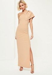 Missguided Nude Crepe One Shoulder Maxi Dress