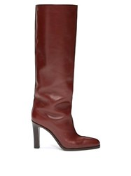 The Row Piped Knee High Leather Boots Burgundy