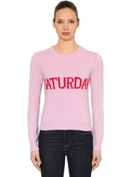 Alberta Ferretti Slim Saturday Wool And Cashmere Sweater Pink Fuchsia