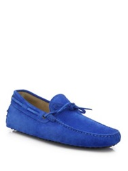 Tod's Suede Gommini Tie Front Drivers Dark Grey Bright Blue