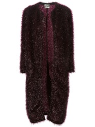 Forte Forte Tinsel Effect Midi Coat Red