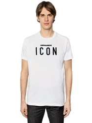 Dsquared Icon Embroidered Cotton Jersey T Shirt