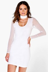 Boohoo Mesh Sleeve Midi Dress Ivory