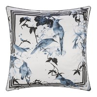Roberto Cavalli Bird Ramage Silk Cushion Blue