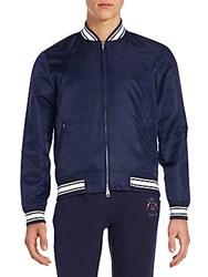Gant Stripe Detailed Bomber Jacket Blue