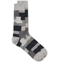 Anonymous Ism Patchwork Crew Sock Grey