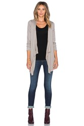 Heather Silk Back Waterfall Cardigan Taupe