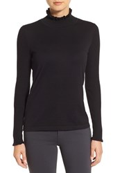 Cece Women's Rib Sleeve Ruffle Trim Turtleneck Rich Black