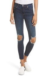 Free People Women's High Rise Busted Knee Skinny Jeans Dark Blue