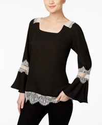 Ny Collection Lace Trim Peasant Top Jet Black With Cream Lace