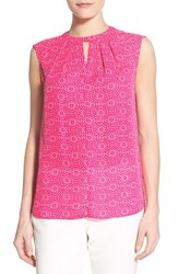 Women's Cece By Cynthia Steffe 'Heritage Tile' Print Sleeveless Pleat Neck Blouse