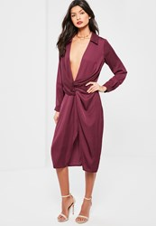 Missguided Purple Silky Wrap Over Midi Dress Plum