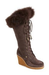 Women's Australia Luxe Collective 'Mandinka' Genuine Shearling Wedge Boot With Genuine Fox Fur Trim 3 1 2' Heel