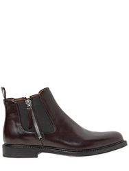 Givenchy Chelsea Brushed Matte Leather Boots Burgundy