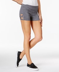 Material Girl Active Juniors' Crisscross Cutout Shorts Only At Macy's Heather Charcoal