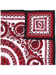 Versace Baroque Floral Print Scarf Red