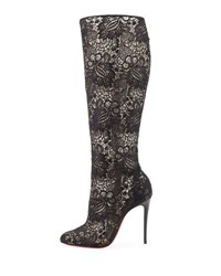 Christian Louboutin Tennissina Net Lace Red Sole Boot Black