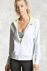 Forever 21 Active Seamless Zip Up Hoodie White Yellow