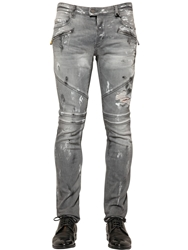 Just Cavalli 17.5Cm Distressed Stretch Denim Jeans Grey