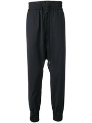 Odeur Dropped Crotch Track Pants Black
