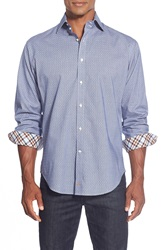 Thomas Dean Classic Fit Jacquard Sport Shirt Blue