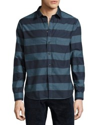 Jachs Ny Striped Long Sleeve Oxford Shirt Blue