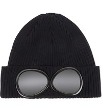 C.P. Company Cp Goggle Knitted Cotton Beanie Navy