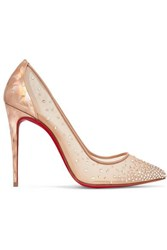 Christian Louboutin Follies 100 Crystal Embellished Mesh And Metallic Leather Pumps It41
