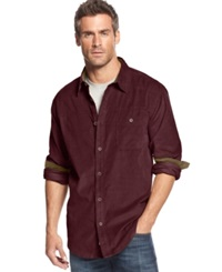 Weatherproof Vintage Long Sleeve Corduroy Shirt Burgundy