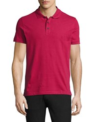 Armani Collezioni Stretch Cotton Polo Shirt Berry Red