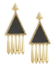 House Of Harlow Triangle Leather Chandelier Earrings Black