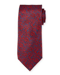 Neiman Marcus Tapestry Silk Tie Blue Red