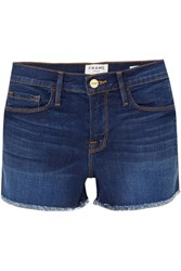 Frame Le Cutoff Frayed Denim Shorts Mid Denim