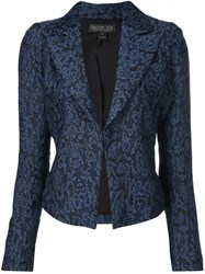 Rachel Zoe Fitted Jacquard Effect Blazer Blue