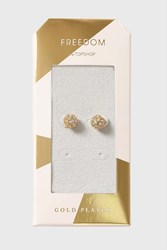 Topshop Gold Plated Pave Stud Earrings Clear