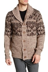 Weatherproof Vintage Faux Shearling Lined Shawl Collar Cardigan Brown