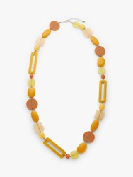 One Button Beaded Long Statement Necklace Mustard