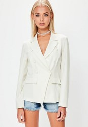 Missguided White Military Style Crepe Blazer